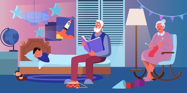 Grootvader leest hardop een boek voor aan zijn kleinzoon. oude dame breien