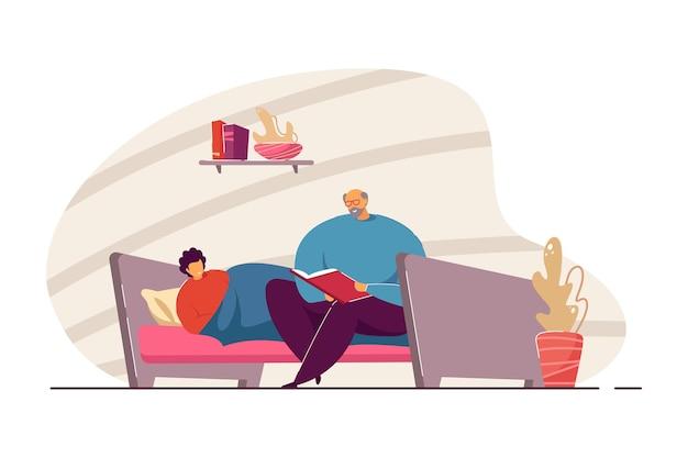 Grootvader leest verhaaltje voor het slapengaan voor aan kleinzoon. oude man zittend op bed met boek, kind luisteren naar sprookjesachtige vectorillustratie. bedtijd, familieconcept voor banner, website-ontwerp of bestemmingspagina