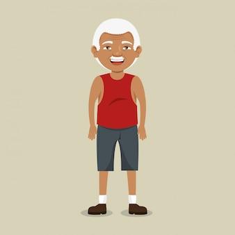Grootvader met sportkleding