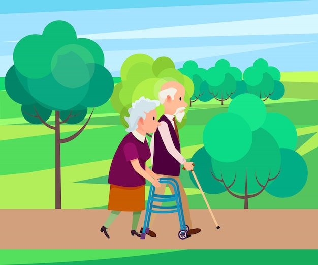 Grootvader met wandelstok en senior vrouw