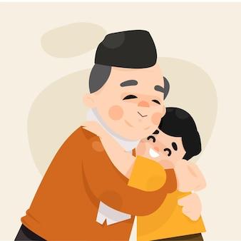 Grootvader omhelsde zijn kleinzoon