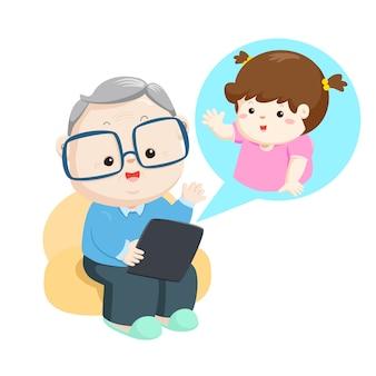 Grootvader online videogesprek met kleinkind.