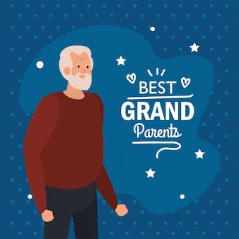 Grootvader op beste grootouders vector design