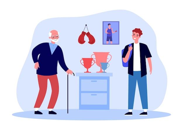 Grootvader toont trofeeën en bokshandschoenen aan kleinzoon. foto van oude bokser in de jeugd op muur platte vectorillustratie. boksen, sport, prestatieconcept voor banner, websiteontwerp of bestemmingspagina