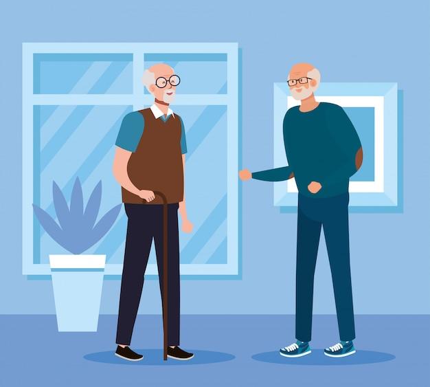 Grootvaders in huis kamer vector design