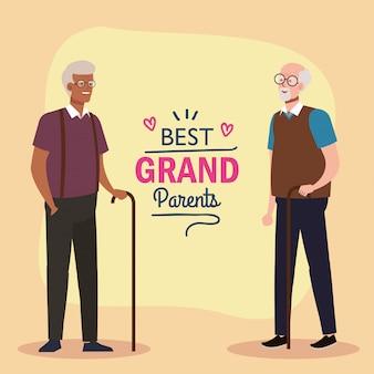 Grootvaders op beste grootouders vector design