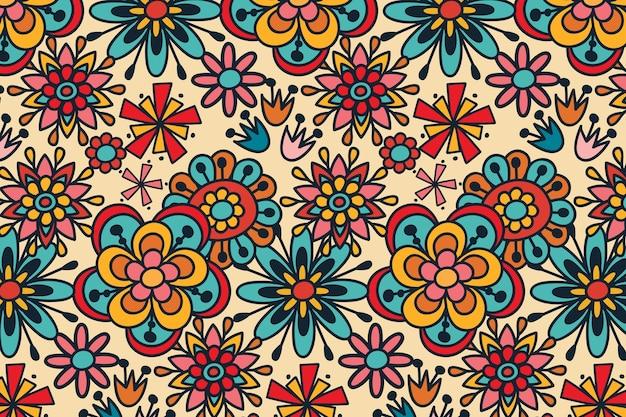 Groovy hand getekend herhalend bloemenpatroon