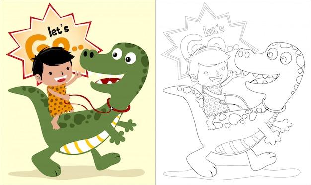 Grot man cartoon paardrijden dinosaurus