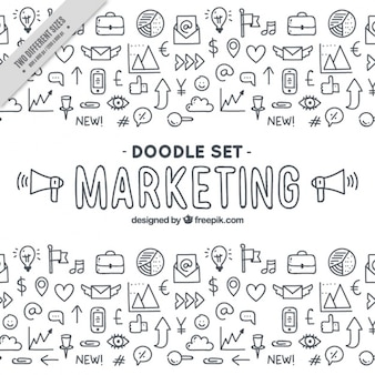 Grote achtergrond met een fantastisch marketing doodles