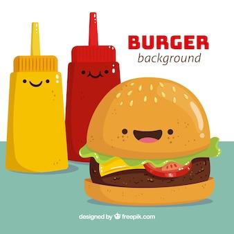 Grote achtergrond met hamburger en sauzen karakters