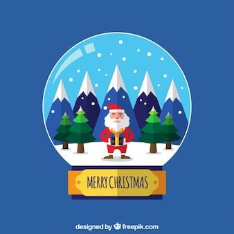 Grote achtergrond van snowglobe met de kerstman