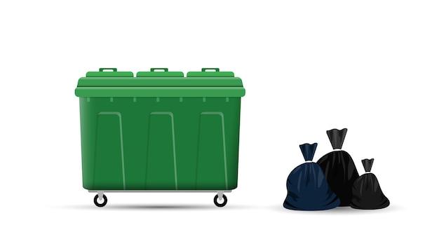 Grote afvalcontainer en zakken