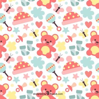 Grote baby patroon met teddyberen en rammelaars