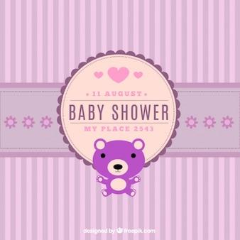Grote baby shower uitnodiging met gestreepte achtergrond