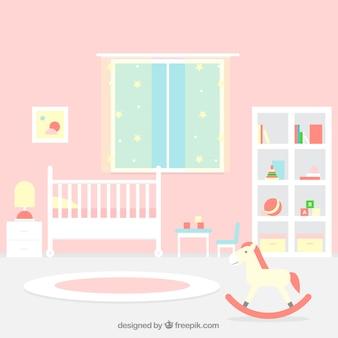 Grote babykamer met roze muur