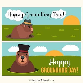 Grote banners voor groundhog day