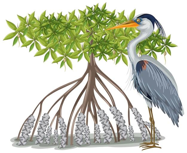 Grote blauwe reiger met mangroveboom in cartoon-stijl op witte achtergrond