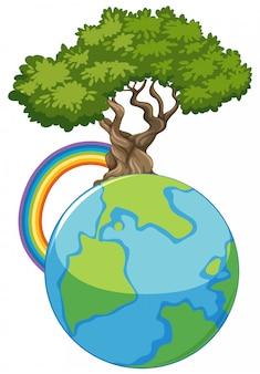 Grote blauwe wereld en grote groene boom op wit