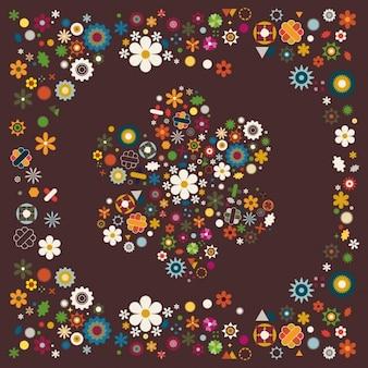 Grote bloem gemaakt van honderden kleine kleurrijke bloemen