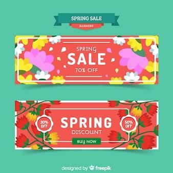 Grote bloemen lente verkoop banner