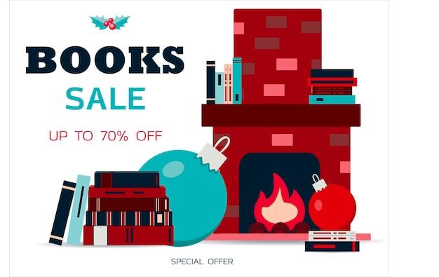 Grote boekverkoop vectorillustratie van een stapel boeken en een open haard met boeken flat design