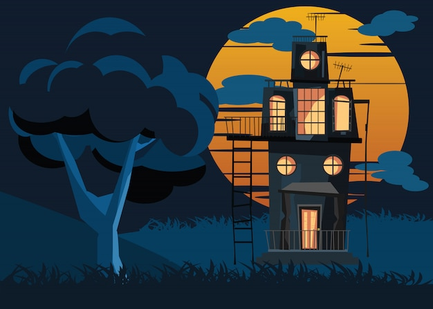 Grote boom en griezelige huis vectorillustratie