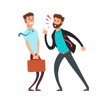 Grote boze werkgever die op werknemer gilt. cartoon zakelijke vector concept