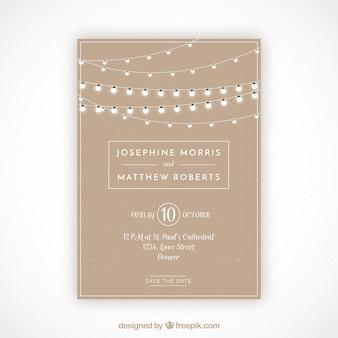 Grote bruiloftuitnodiging met decoratieve gloeilampen Premium Vector