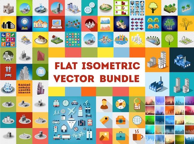 Grote bundel set ontwerpsjablonen, ontwerpelementen, isometrische objecten gebouwen