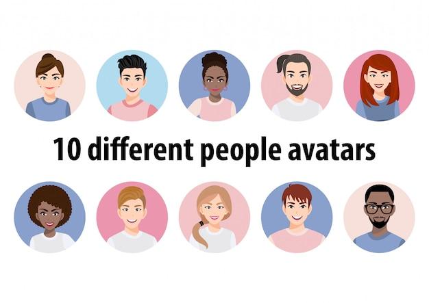 Grote bundel van verschillende mensenavatars. set mannelijke en vrouwelijke portretten. avatar karakters voor mannen en vrouwen.00