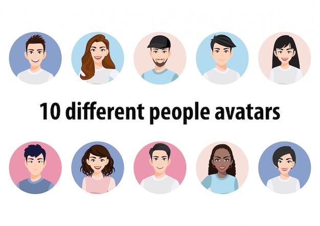 Grote bundel van verschillende mensenavatars. set mannelijke en vrouwelijke portretten. avatar karakters voor mannen en vrouwen. 449