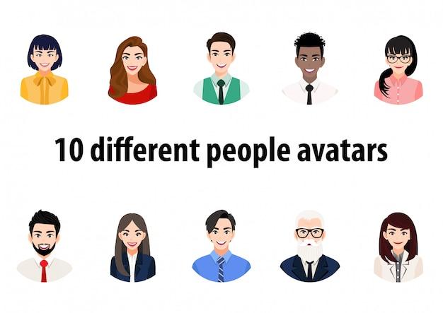 Grote bundel van verschillende mensenavatars. set mannelijke en vrouwelijke portretten. avatar karakters voor mannen en vrouwen.