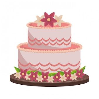 Grote cake met bloemen
