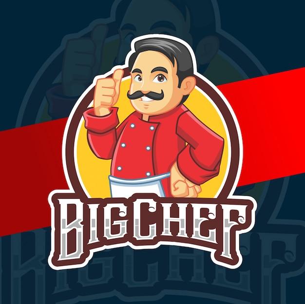 Grote chef-kok mascotte karakter logo ontwerp