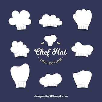 Grote collectie met verschillende chef-kok hoeden