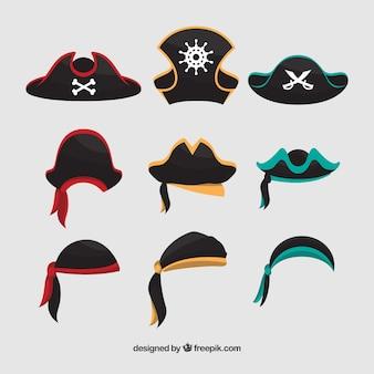 Grote collectie van piraat hoeden