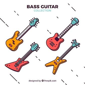 Grote collectie van vier gekleurde basgitaren