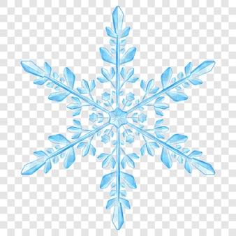 Grote complexe doorschijnende kerstsneeuwvlok in lichtblauwe kleuren voor gebruik op lichte achtergrond. transparantie alleen in vectorformaat