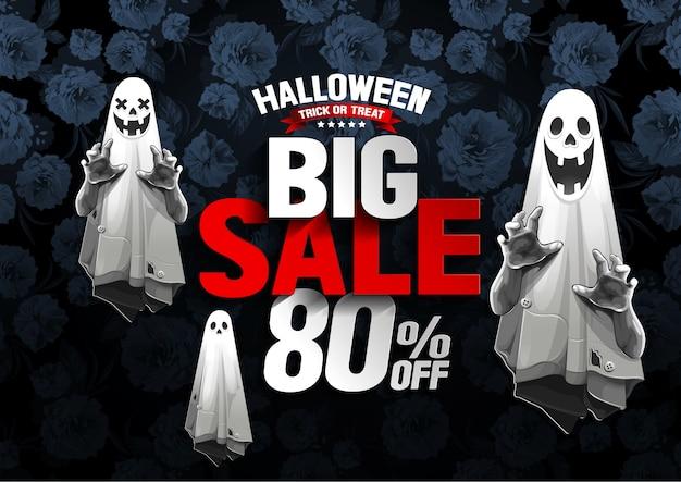 Grote de verkoopbanner van halloween met spook op bloemachtergrond