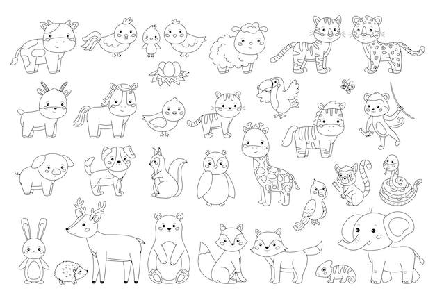 Grote dieren instellen voor kleurboek. overzicht illustratie voor kinderen. boerderij-, bos- en jungledieren.