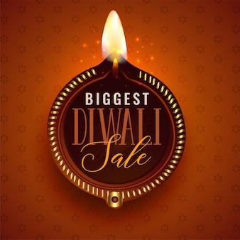 Grote diwali verkoop mooie diya sjabloon