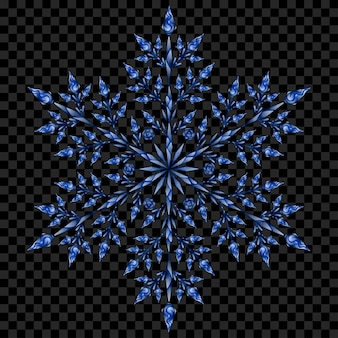 Grote doorschijnende kerst sneeuwvlok in blauwe kleuren op transparante achtergrond. transparantie alleen in vectorbestand