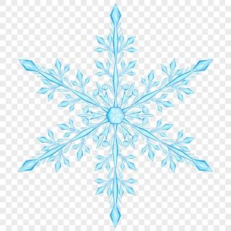 Grote doorschijnende kerst sneeuwvlok in lichte blauwe kleuren op transparante achtergrond. transparantie alleen in vectorbestand