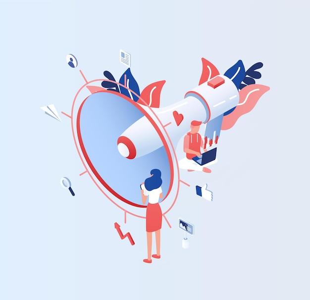 Grote elektronische megafoon of megafoon, kleine mensen, managers of bedienden. internetreclame en socialemediamarketing of smm. kleurrijke illustratie in platte cartoon stijl.