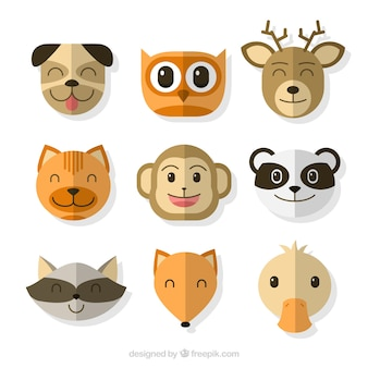 Grote emoticons met schattige dieren