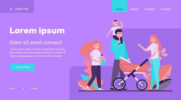 Grote en gelukkige familie die samen loopt. moeder, kind, vader platte vectorillustratie. ouderschap en relatie concept websiteontwerp of bestemmingswebpagina
