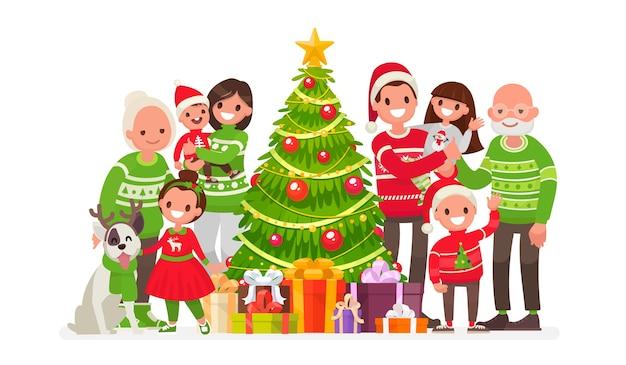 Grote en gelukkige familie en kerstboom met geschenken