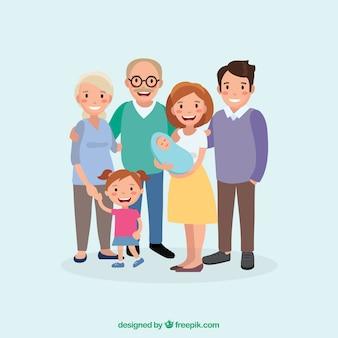 Grote en gelukkige familie met een plat ontwerp