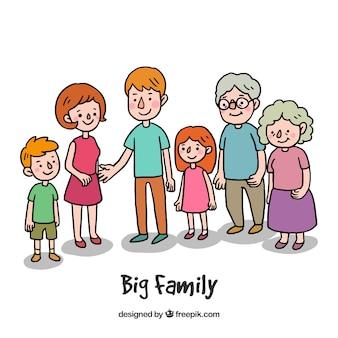 Grote en gelukkige familie met hand getrokken stijl
