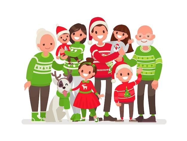Grote en gelukkige familie met kerstmis
